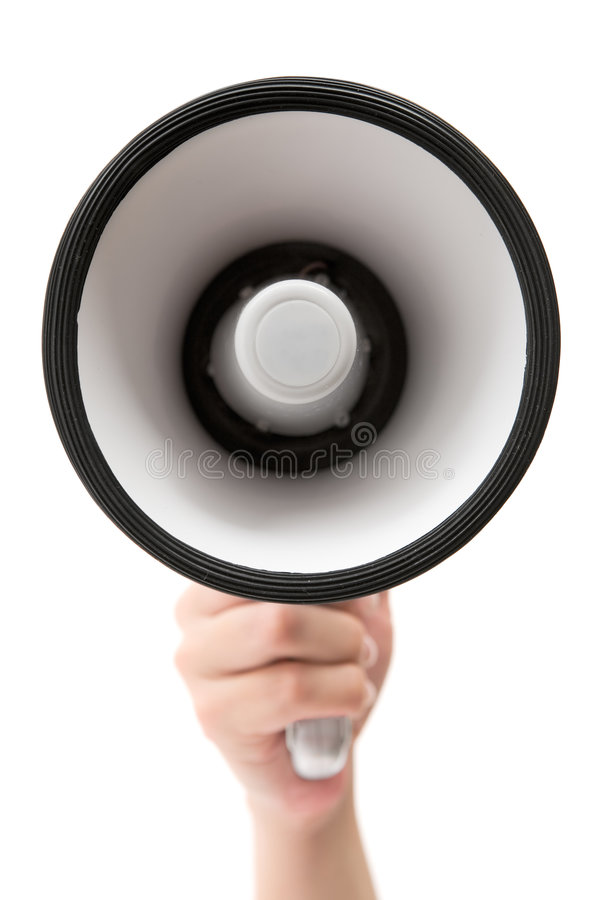 Holding a Megaphone. Female hand holding a megaphone. Isolated on a white background royalty free stock photography