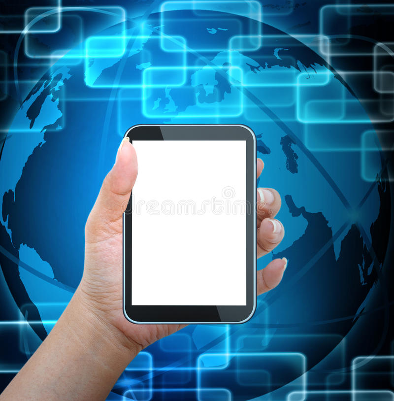 Holding mobile smart phone with world background. Holding mobile smart phone with world technology background stock photography
