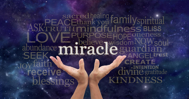Holding out for a Miracle Word Cloud royalty free stock photography