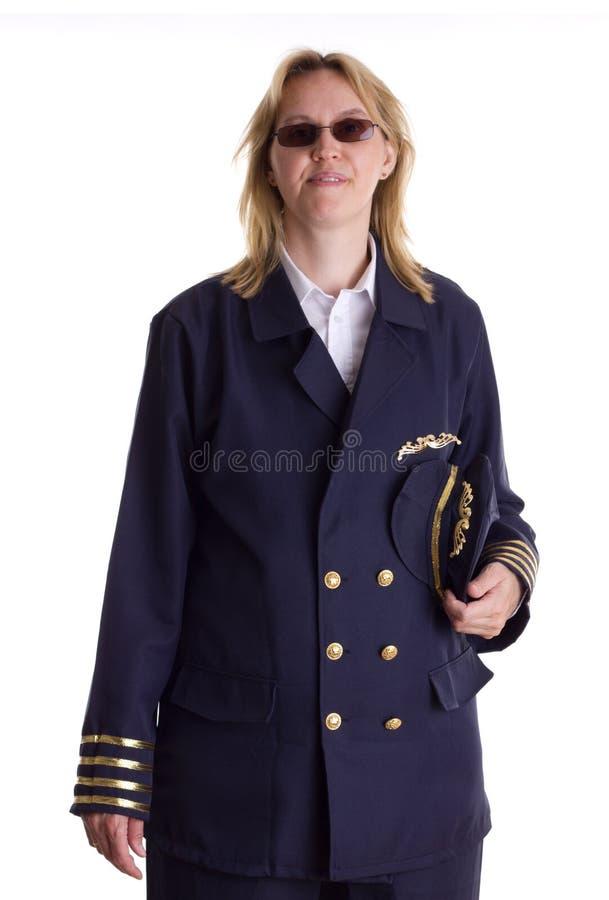 Holding pilota la sua protezione in sua mano fotografia stock libera da diritti