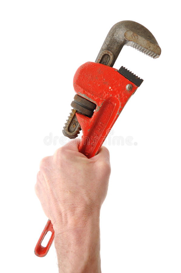 Holding Pipe Wrench in Hand. Isolated on White stock photography