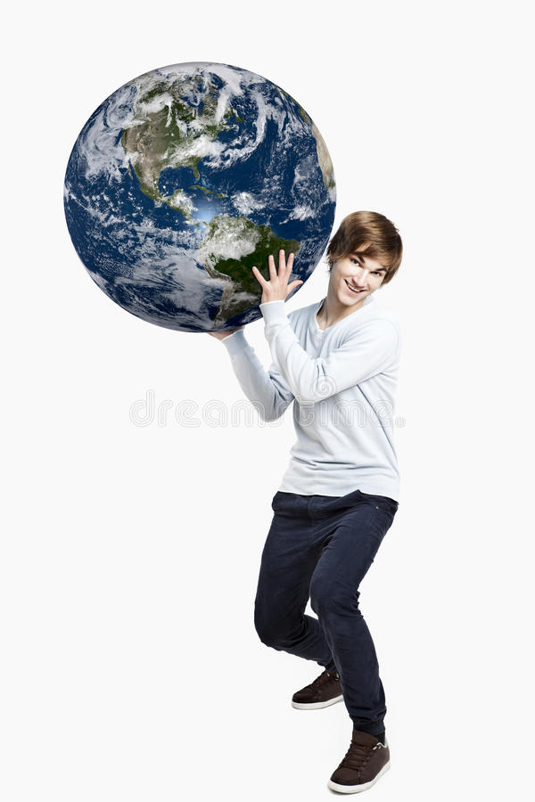 Holding a planet earth royalty free stock photography