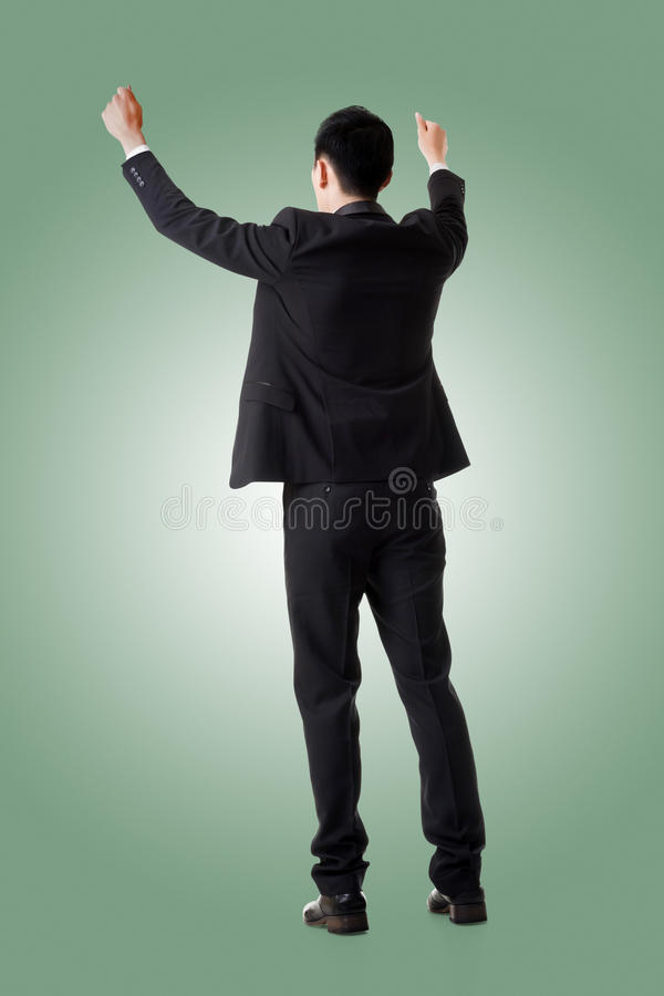 Holding pose of Asian business man stock image