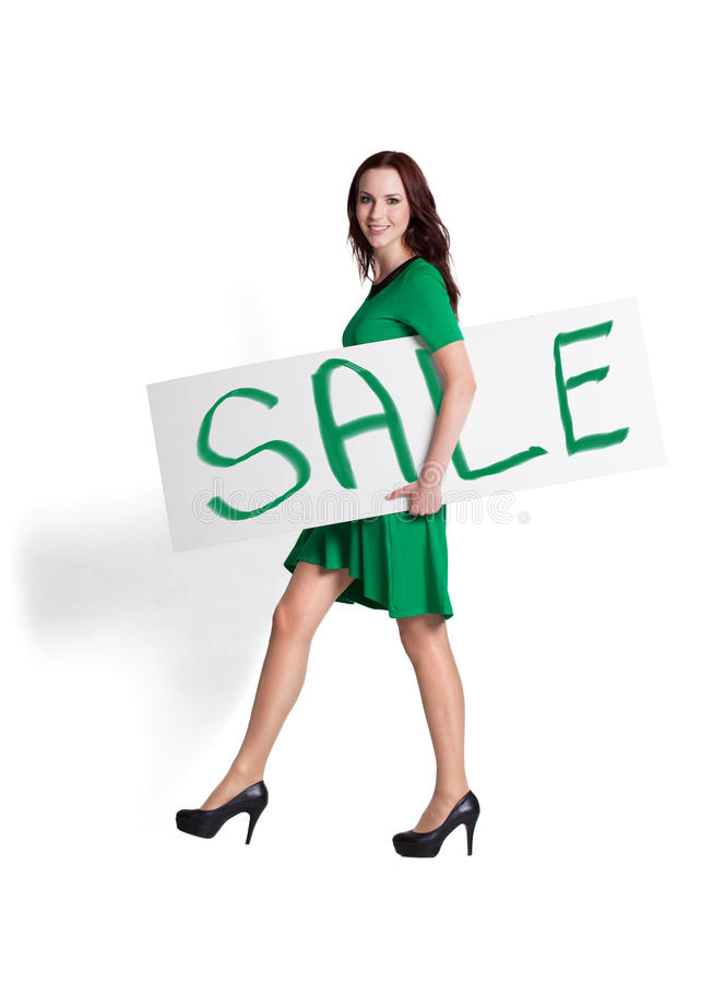 Holding Sale Sign stock images