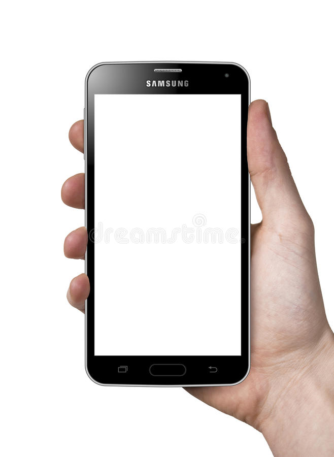 Holding Samsung Galaxy S5 black stock images