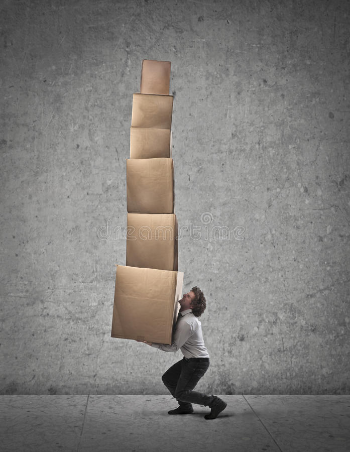 Holding Too Many Boxes Stock Photos