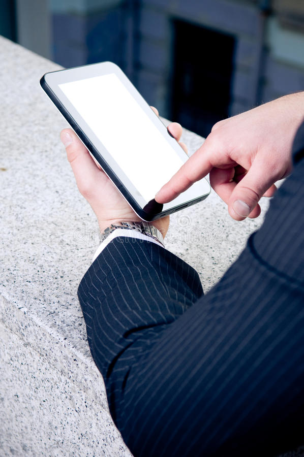 Download Holding touchscreen tablet stock photo. Image of mobility - 19324790