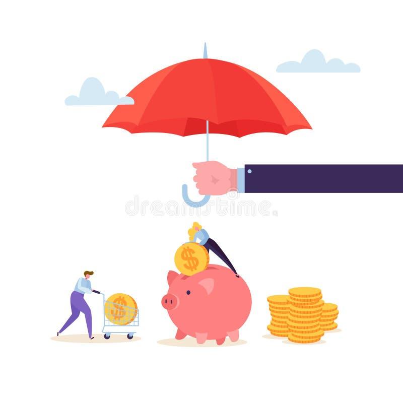 Holding Umbrella Over för försäkringmedel pengar Finansiellt skyddsbegrepp med teckenkvinnan som samlar guld- mynt vektor illustrationer