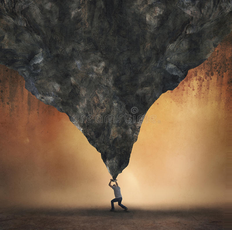 Holding up a mountain. A man holds up a giant mountain with a book royalty free stock photography