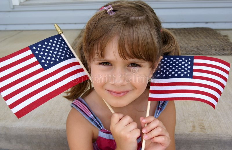 Holding usa flags stock image