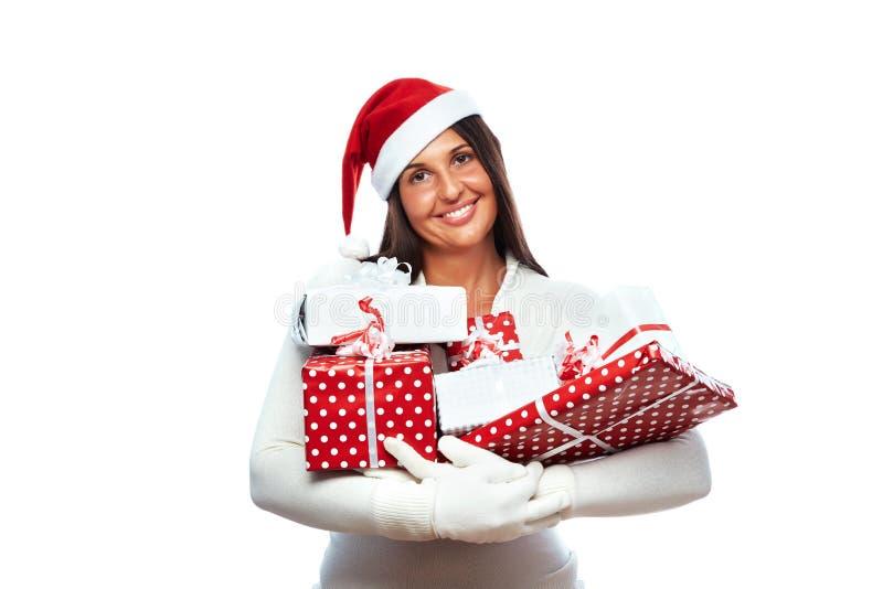 Holding van de Kerstmis stelt de winkelende vrouw voor royalty-vrije stock fotografie