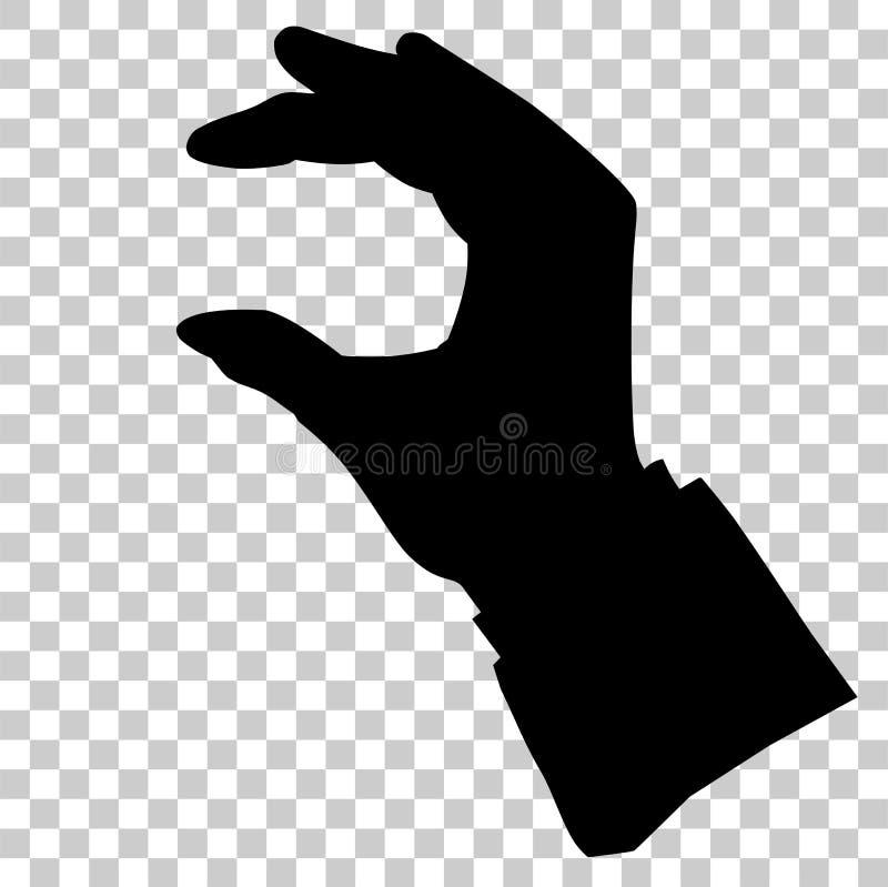 Holding van de silhouethand, die/neemt of ontvangt iets, bij Transparante Effect Achtergrond de plukken royalty-vrije illustratie