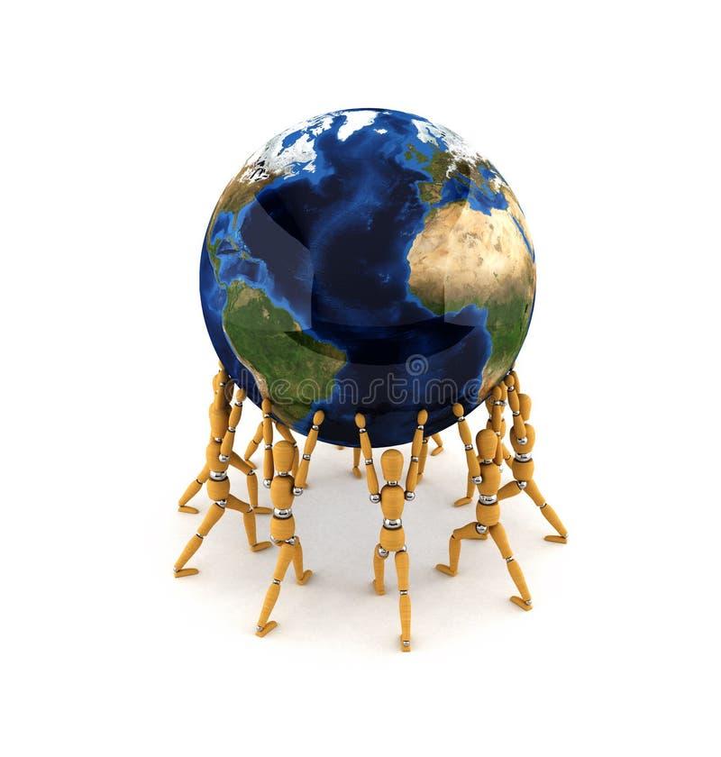 Holding the world. Team holding up the world over white background stock illustration