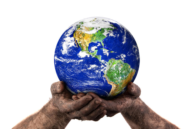 Holding the world with dirty hands stock photo