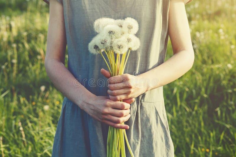 Holdingblumenstrau? der jungen Frau tragender Leinenkleidervon sch?nen frischen L?wenzahnblumen stockbild