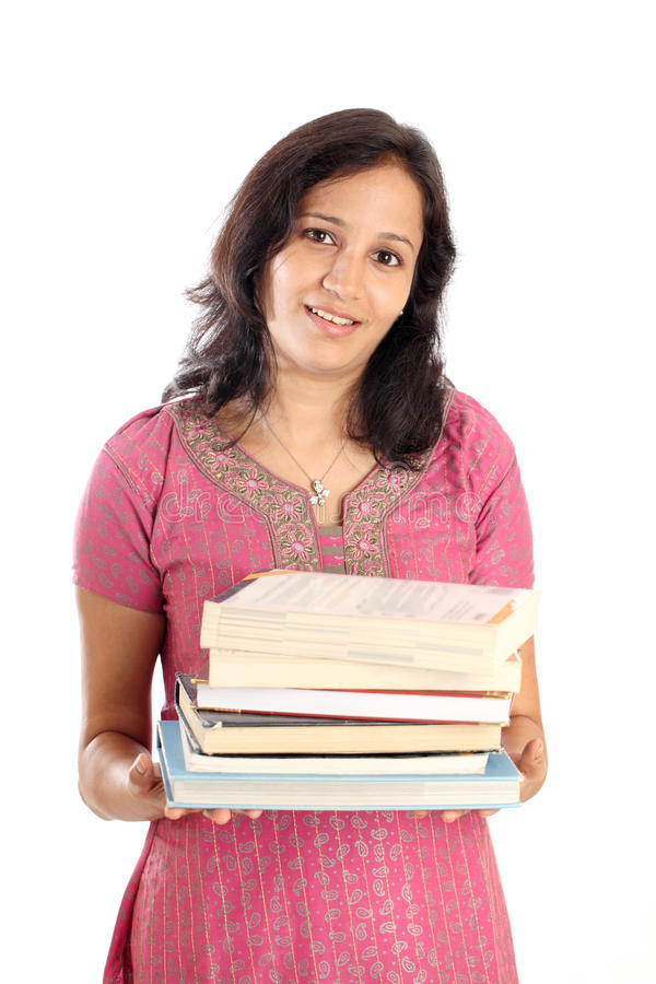 Holdingbunt för kvinnlig deltagare av böcker arkivfoto