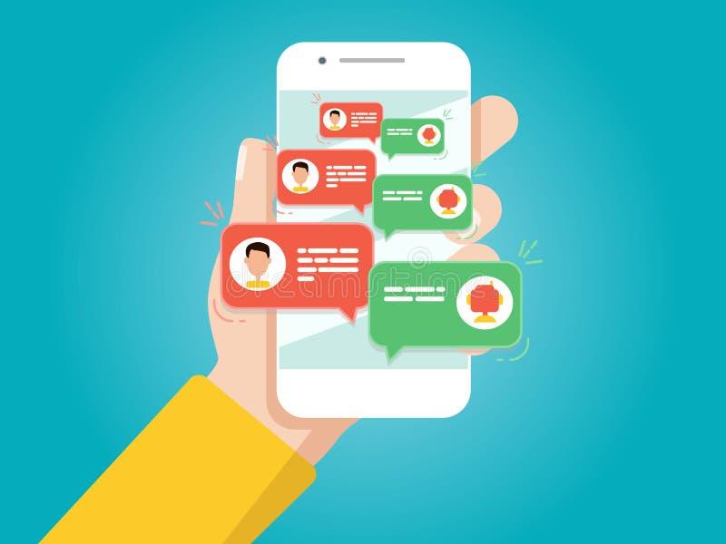 holdingen för bakgrundsgrupphanden bemärker smartphone Man som pratar med pratstundbot stock illustrationer
