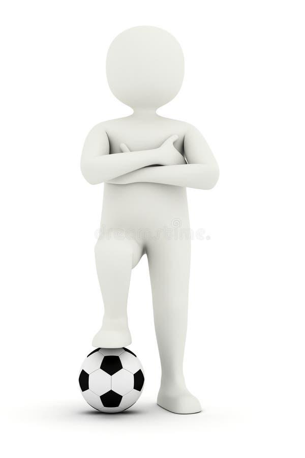 Holdingfuß des Mannes 3d auf Fußballkugel vektor abbildung