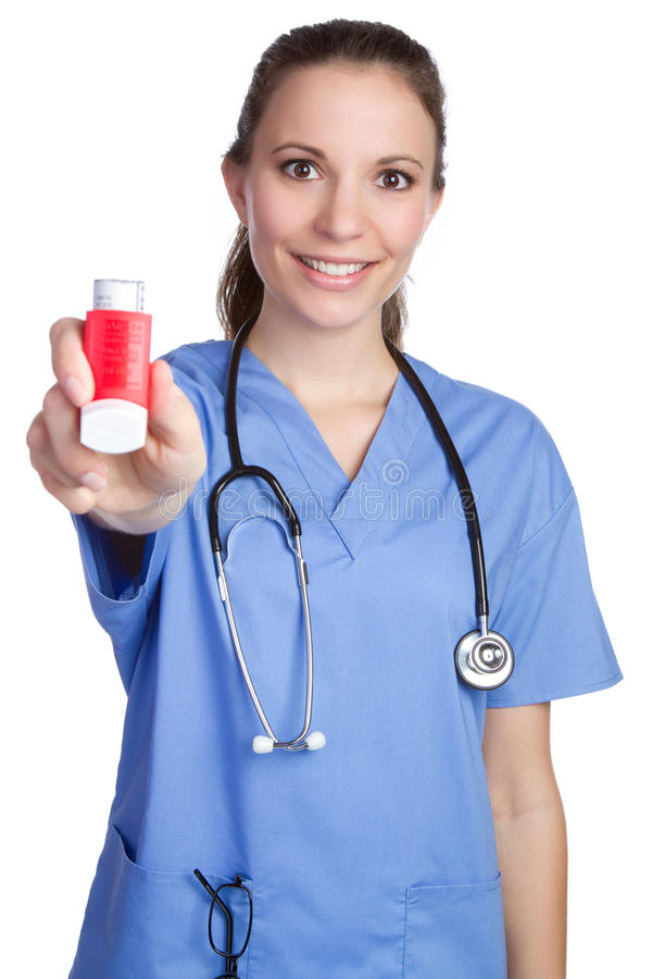holdinginhalersjuksköterska arkivbild