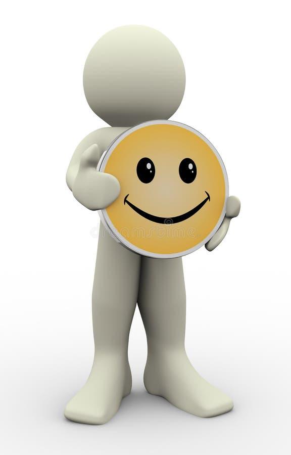 Holdinglächeln des Mannes 3d lizenzfreie abbildung