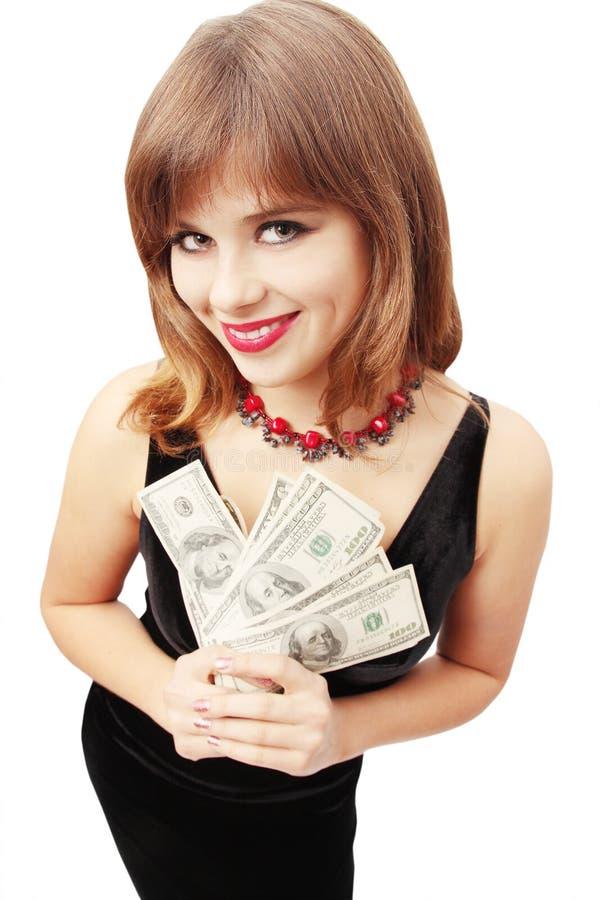 holdingpengarkvinna royaltyfri fotografi