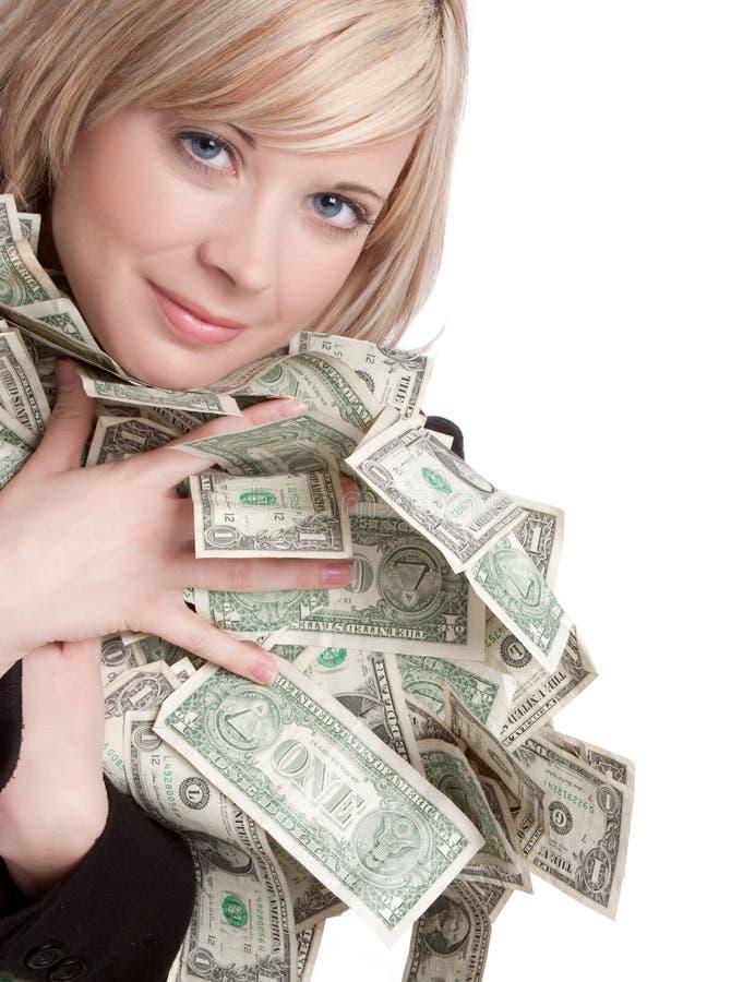 holdingpengarkvinna arkivfoto