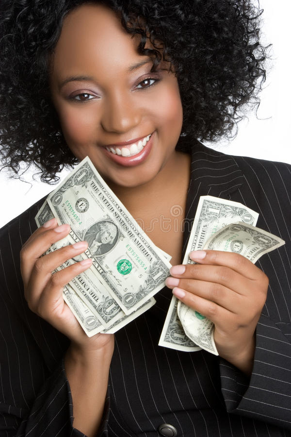 holdingpengarkvinna royaltyfri bild