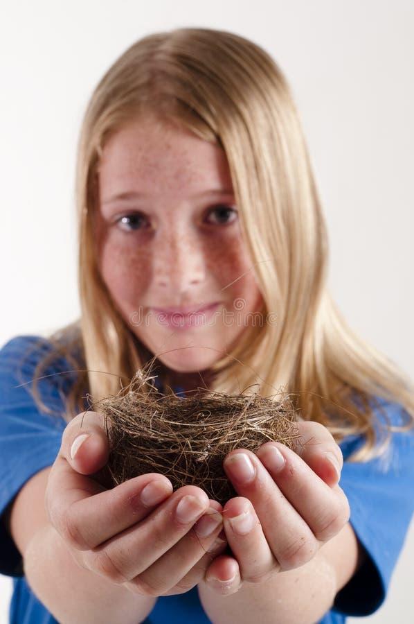 Holdingvogelnest des jungen Mädchens stockbild