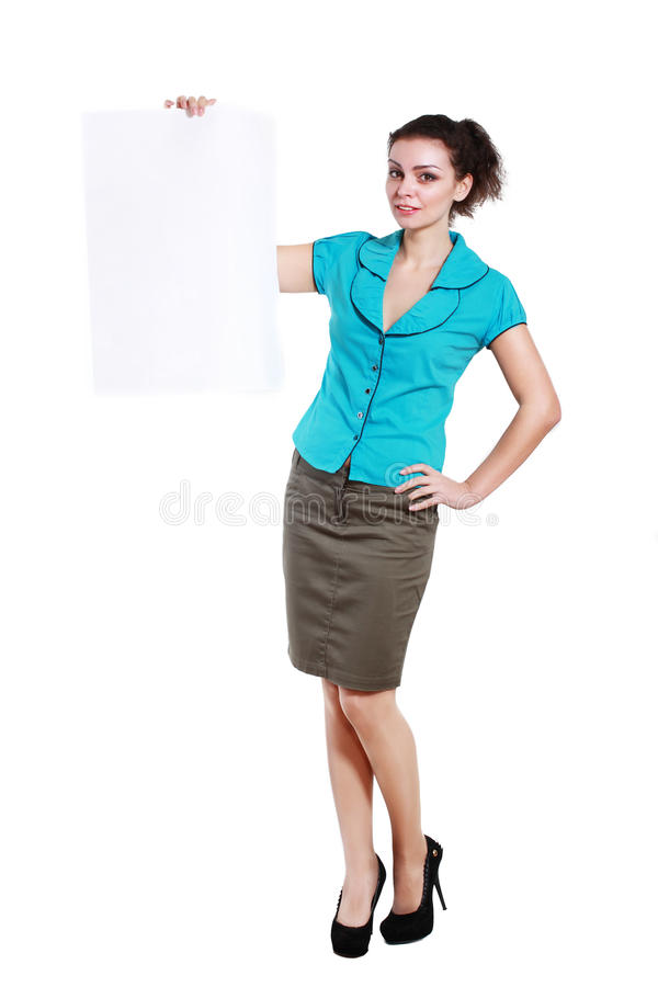 Holds out a big blank card. A beautiful woman holds out a big blank card Isolated on white background stock images