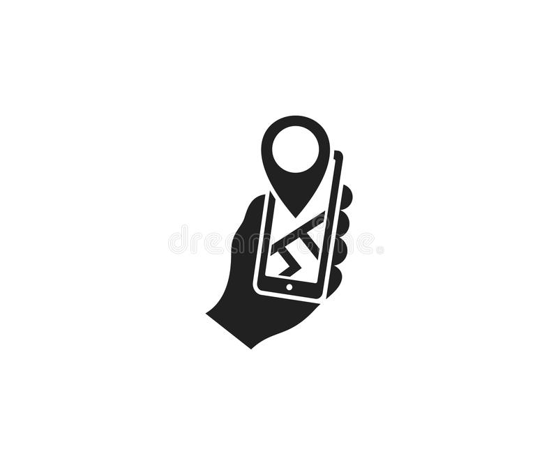 Holds a smartphone and a label with a map logo template. Mobile phone geo location vector design. Smartphone gps navigator and city map illustration royalty free illustration