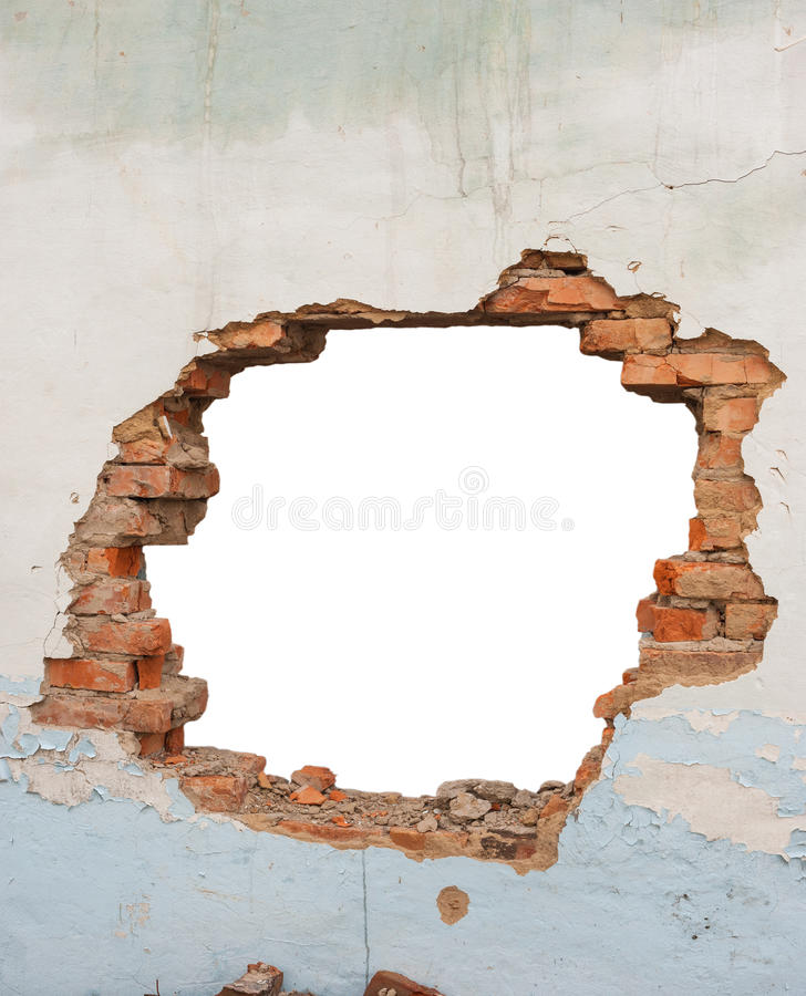 Download Hole brick wall stock image. Image of disaster, background - 59152227