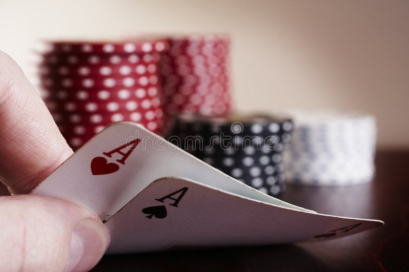 The hole cards royalty free stock images