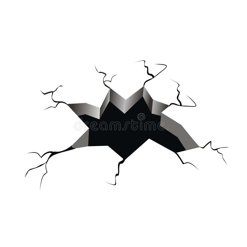 Hole in the crack ground  illustration. Isolated on white background vector illustration