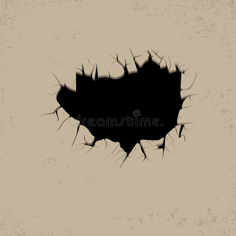 Hole cracks in the wall. vector illustration