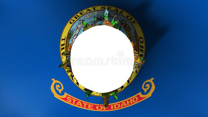 Hole cut in the flag of Idaho state. White background, 3d rendering stock illustration
