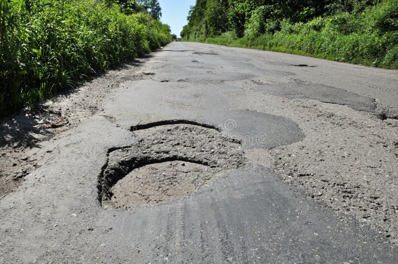 Hole on damage road royalty free stock photo