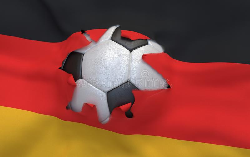 The hole in the flag of Germany and soccer ball stock images