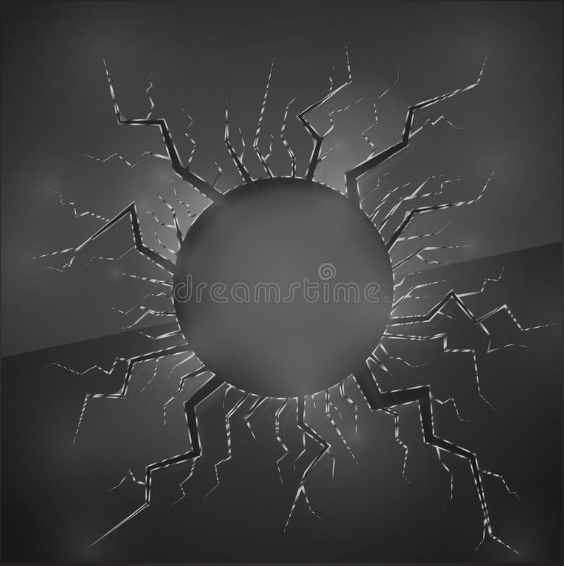 Hole in glass vector illustration