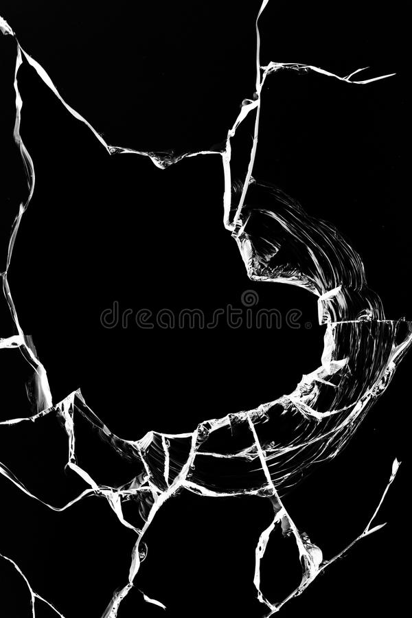 Hole glass broken black royalty free stock image