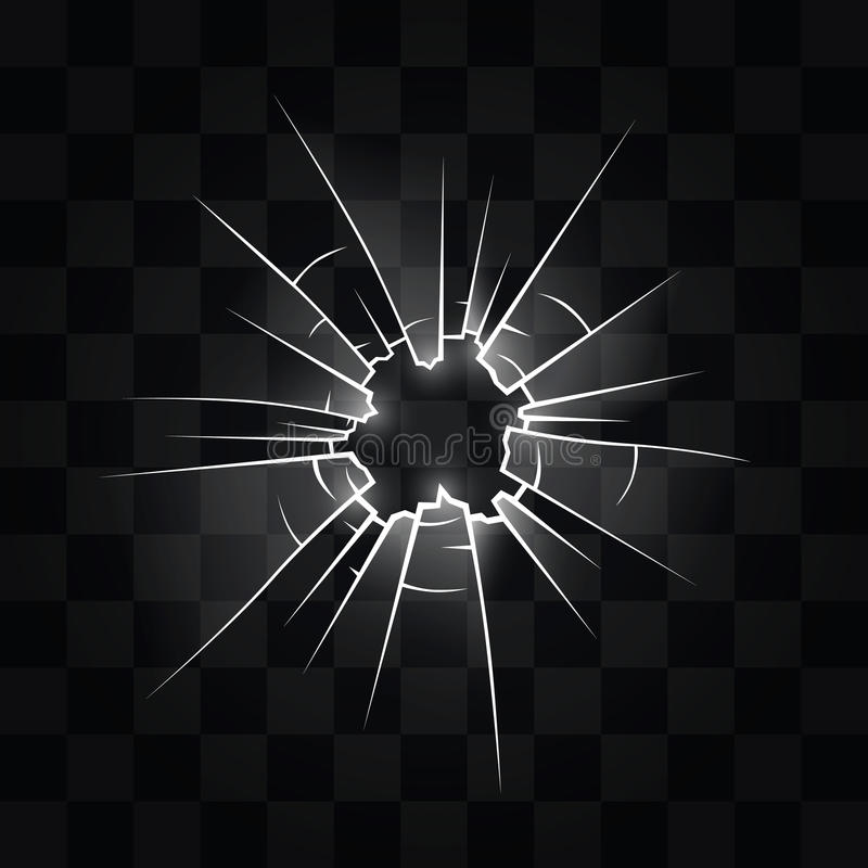 Hole in the glass from the bullet. Vector illustration vector illustration