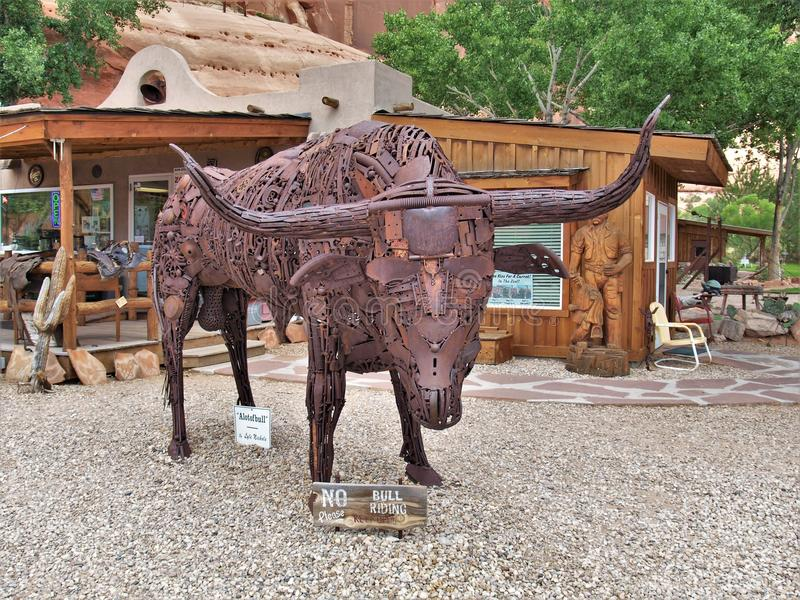 Steer Made of Car Parts at Hole N` The Rock stock image