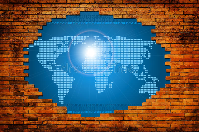 Hole in old wall with digital world. Concept graphic royalty free stock photo