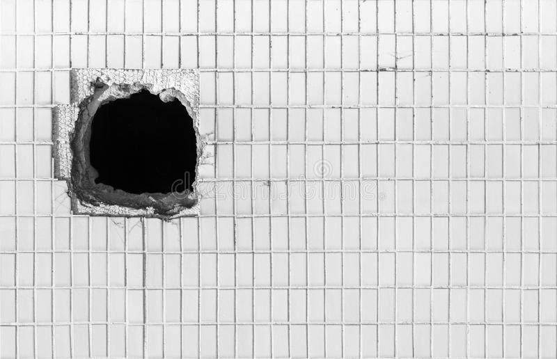 hole on the old white wall stock photo  image of pore