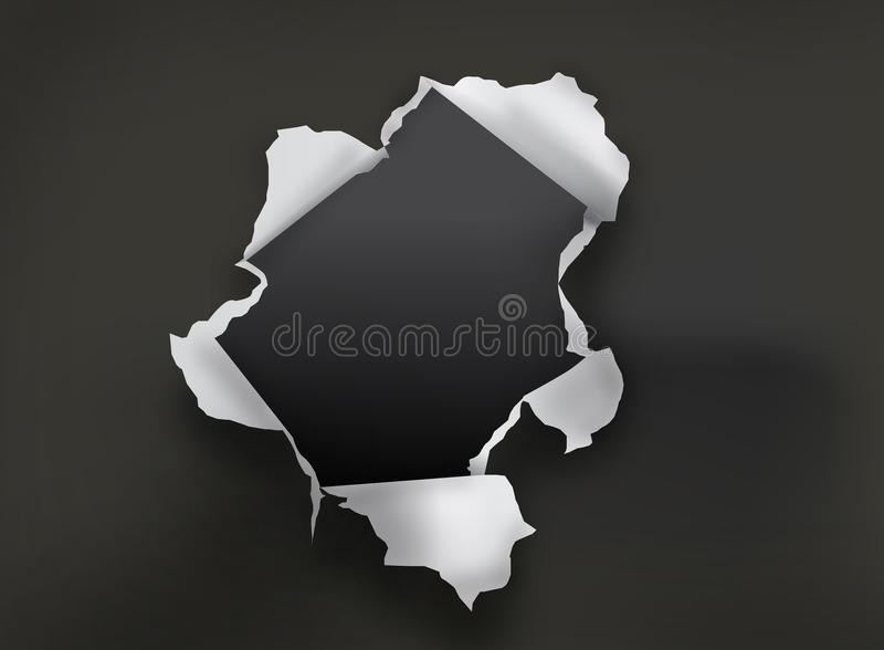 Hole in paper stock illustration