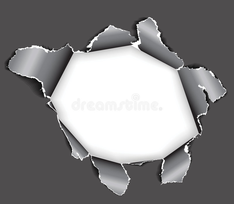 Hole in the paper. Hole in the sheet of paper - black and white vector illustration