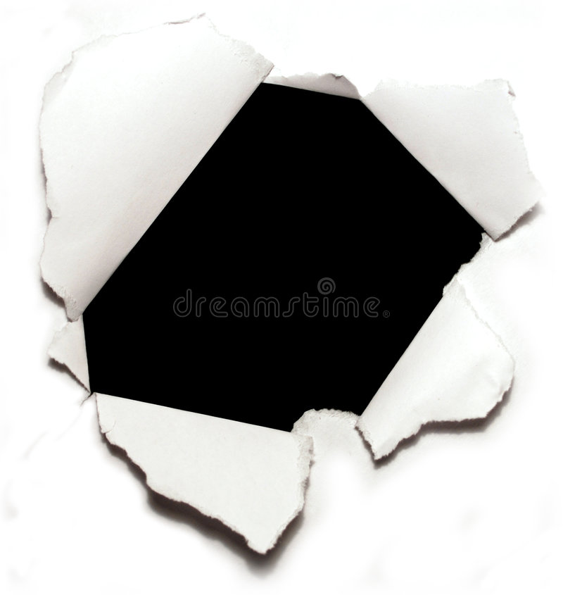 Hole on paper stock image