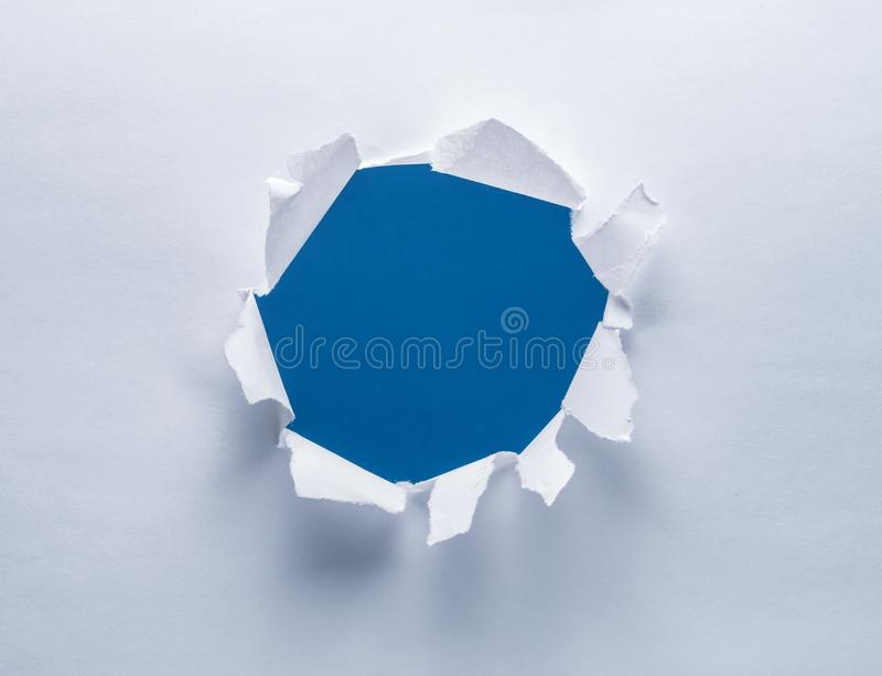 Hole on a paper. stock image