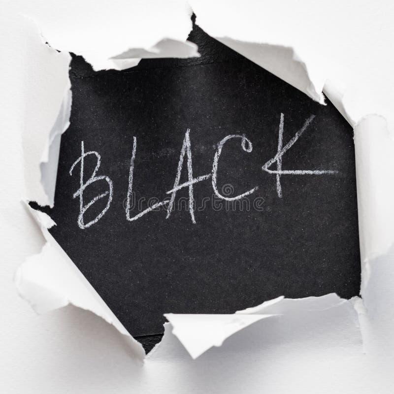 Hole paper rough edge word black burst white layer stock photography
