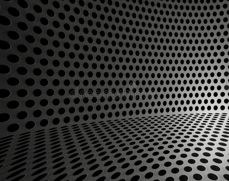 Hole punched metal wallpaper. Background sheet of metal covered with lines of circular holes stock illustration