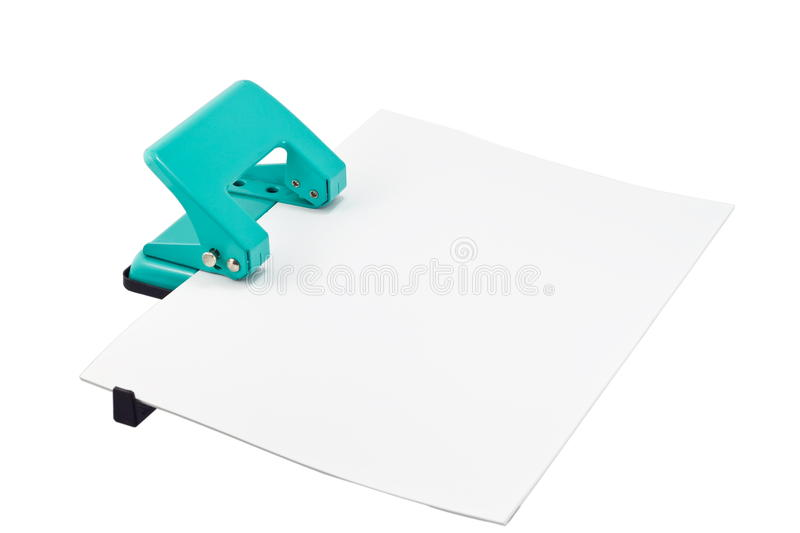 Hole Puncher And Paper Stock Photo